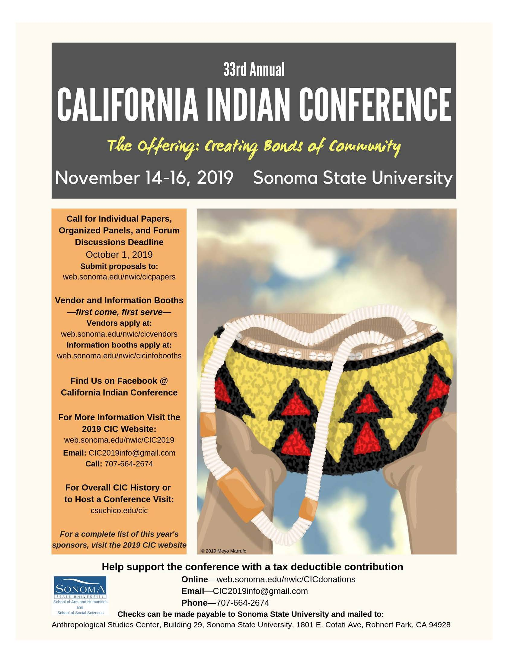 33rd Annual California Indian Conference at Sonoma State University
