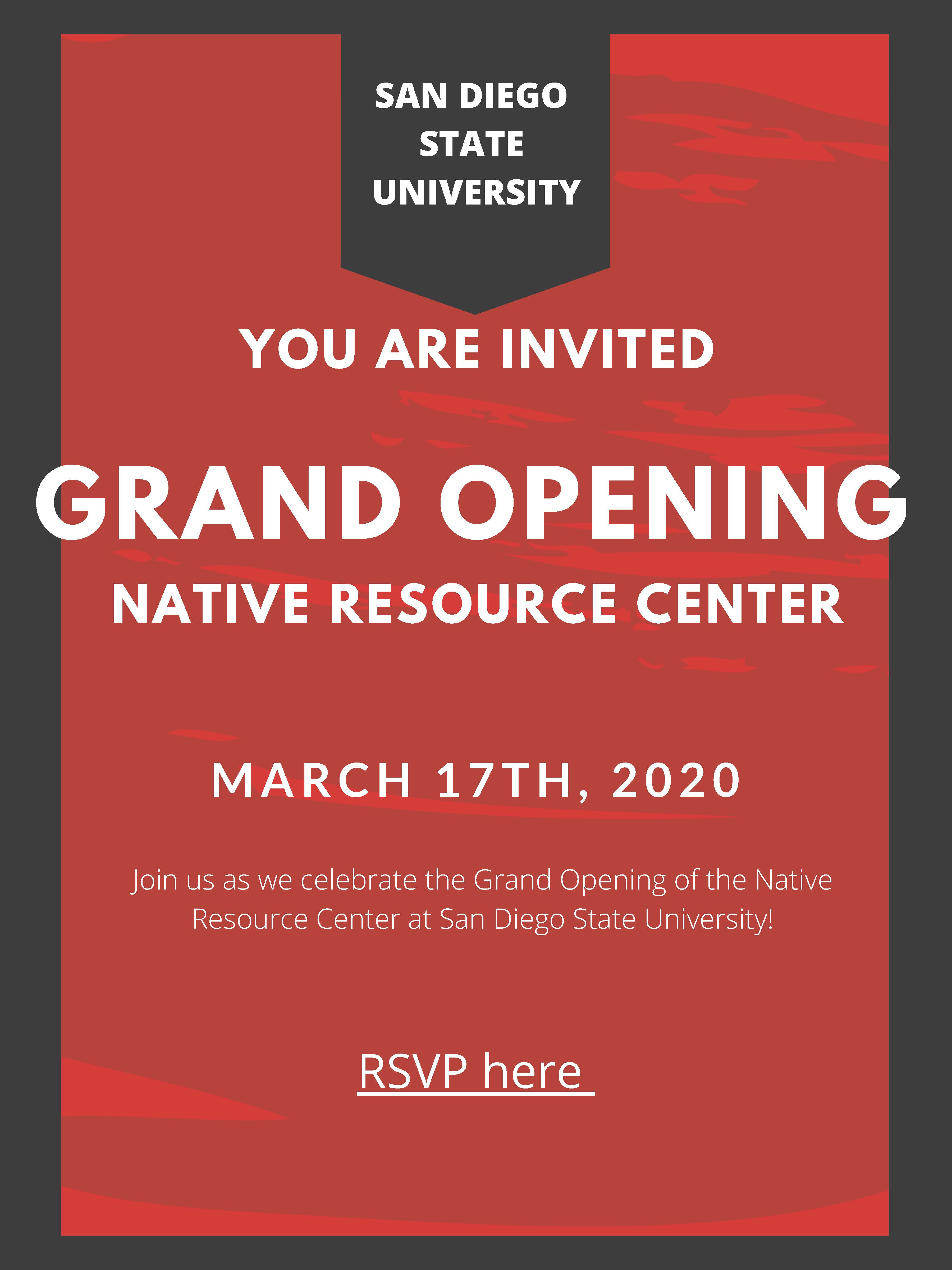 Grand Opening of the SDSU Native Resource Center - March 2, 2020