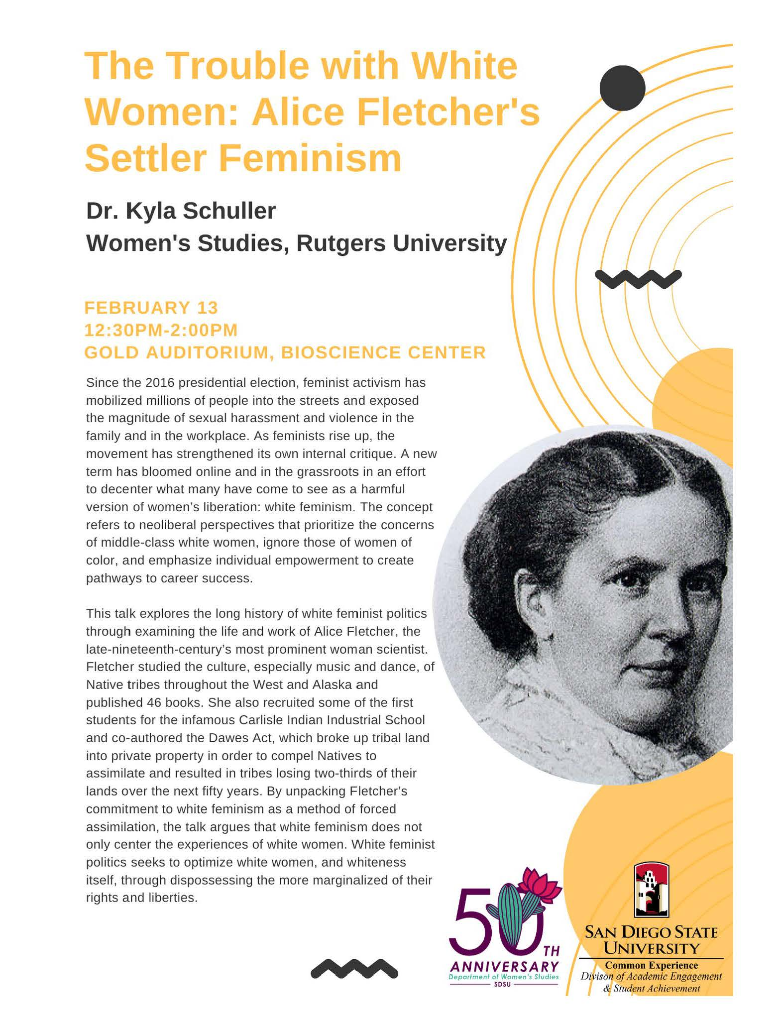 The Trouble with White Women: Alice Fletcher's Settler Feminism: A lecture by Dr. Kyla Schuller