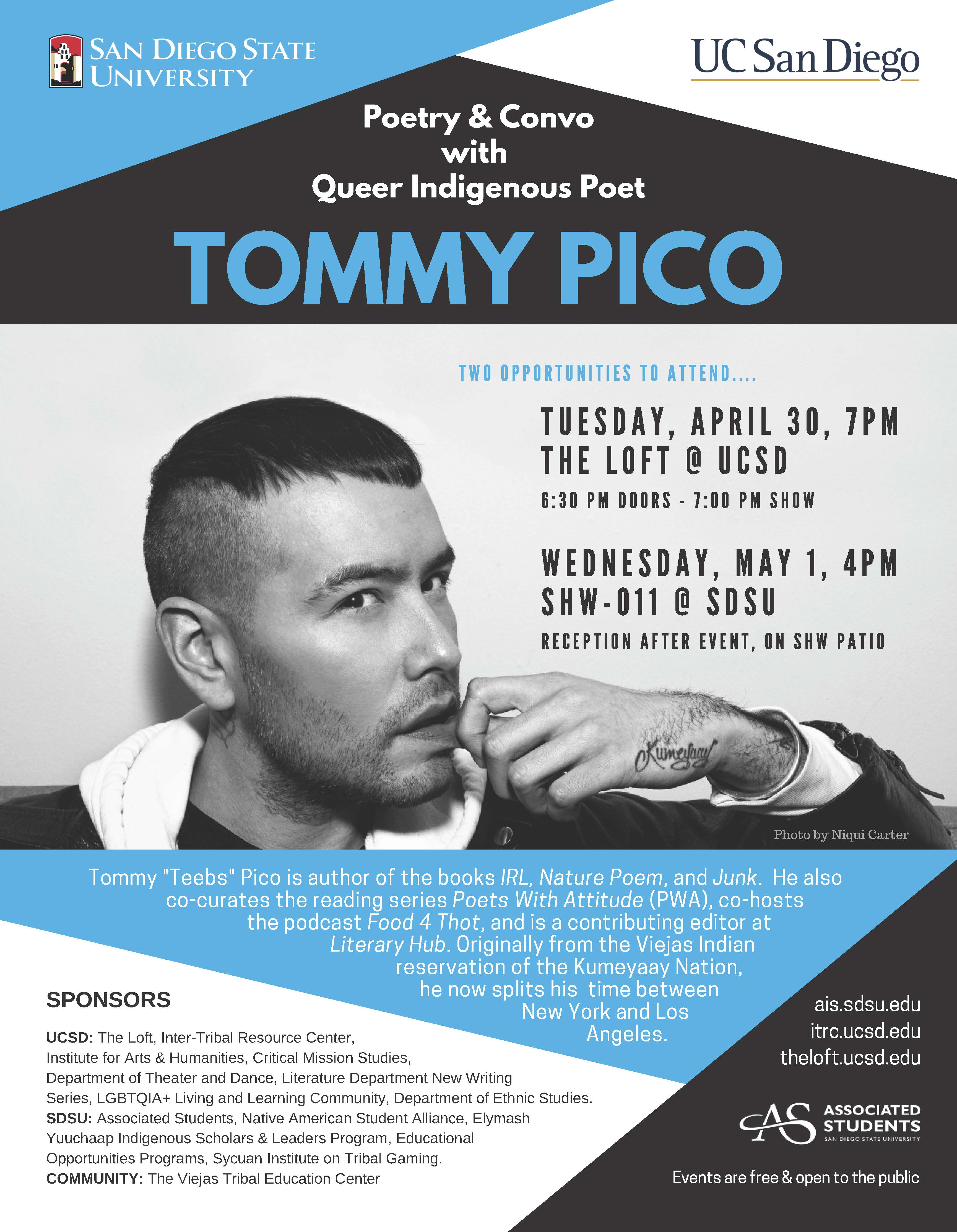 Poetry and Convo with Queer Indigenous Poet Tommy Pico